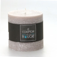 Bougie cylindrique rustique taupe