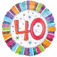 Ballon aluminium 40 ans Anniversaire Radieux