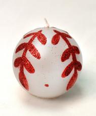 Bougie ronde blanche motif feuilles