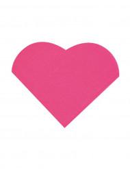 20 Petites serviettes coeur en papier fuchsia 9 x 12 cm
