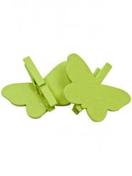 6 Papillons sur pince à linge verts