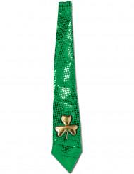 Cravate verte paillettée et trèfle dorée Saint-Patrick adulte