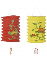 2 Lanternes chinoises rouge et jaune 15,2 x 22,9 cm