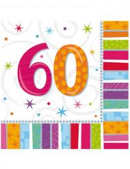 16 Serviettes en papier 60 ans 33 x 33 cm