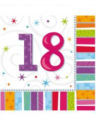 16 Serviettes en papier 18 ans 33 x 33 cm