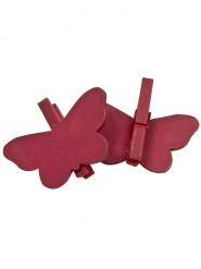 6 papillons sur pince à linge rouges