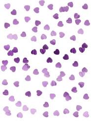 Confettis coeurs métallisés rose