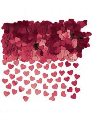 Confettis coeurs métallisés bordeaux