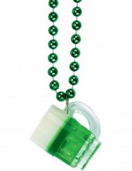 Collier chope à bière vert Saint-Patrick