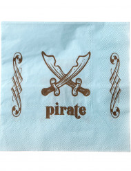 20 Serviettes en papier Pirate bleu clair 33 x 33 cm