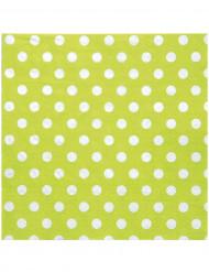 20 Serviettes en papier Vertes pois blancs 33 x 33 cm