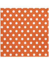 20 Serviettes en papier Orange pois blancs 33 x 33 cm