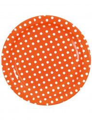 10 Assiettes orange à pois blancs en carton 23 cm