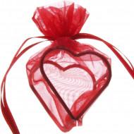4 sachets forme coeur armuré rouge