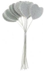 Bouquet de 12 coeurs blancs paillettés