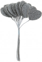 Bouquet de 12 coeurs argentés