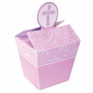 24 boîtes cadeaux cartonnées roses baptême