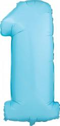Ballon aluminium bleu chiffre 1 Teddy 1 an garçon