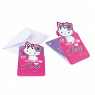 6 Invitations Charmy Kitty coeurs™