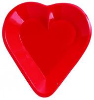 Coupelle en plastique cœur rouge 12.5 cm