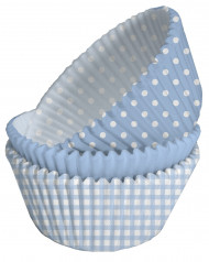 75 Moules à cupcakes en papier bleus à pois blancs 5 x 3 cm