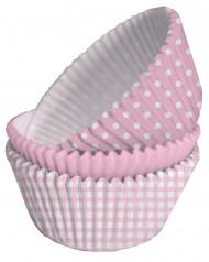 75 Moules cupcakes papier rose et blanc
