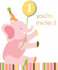 8 invitations carton Animaux Premier Anniversaire Fille