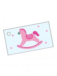 10 étiquettes papier cheval rose Baptême Fille