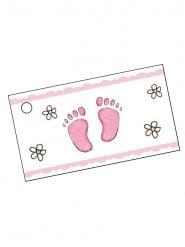 10 Étiquettes en papier pieds roses 9 x 2,5 cm