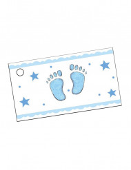 10 Étiquettes en papier pieds bleus 9 x 2,5 cm