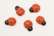 10 Coccinelles en bois rouges et noires 1,5 cm