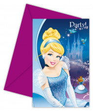 6 cartes invitation carton Cendrillon™ avec enveloppes