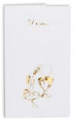 10 menus carton Communion Blanc Doré