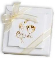 2 boîtes dragées carton Communion Blanc Doré
