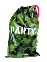 6 sacs de fête plastique Camouflage
