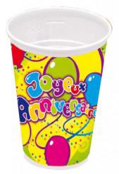 8 gobelets plastique joyeux anniversaie
