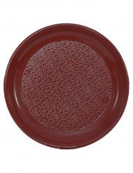 12 Assiettes bordeaux en plastique 25 cm