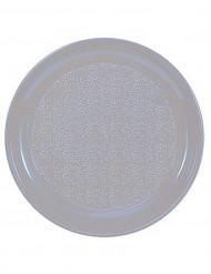 12 Assiettes taupe en plastique 25 cm
