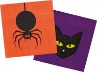 6 Petites Serviettes en papier Halloween Coloré 25 x 25 cm