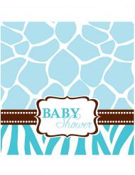 16 Serviettes 33 cm Baby Shower Girafe Bleue