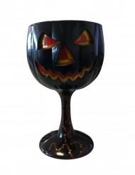Verre à pied en plastique citrouille d'Halloween noire