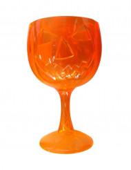 Verre à pied en plastique citrouille d'Halloween orange