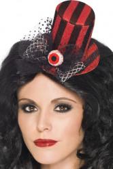 Mini chapeau rouge et noir avec oeil femme Halloween