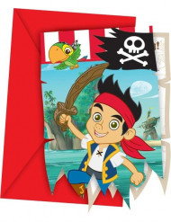 6 Cartes d'invitation Jake et les pirates™