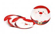 6 Petites assiettes en carton Père Noël 18 cm