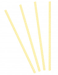 30 Pailles chevrons jaunes et blancs