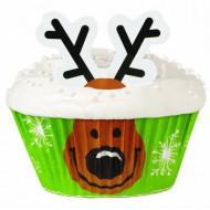 24 Moules à cupcakes avec décorations Wilton™ rennes Noël