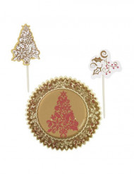 Set moules à cupcakes et pics de décoration Sapin de Noël