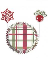 Set moules à cupcakes et pics de décoration Noël vintage