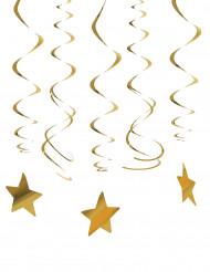 30 Décorations à suspendre étoiles dorées